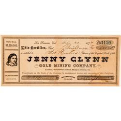 Jenny Glynn Gold Mining Co. Stock Certificate  (100821)