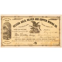 Nevada Gold, Silver and Copper Mining Co. Stock Certificate  (100764)