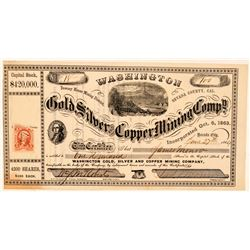 Washington Gold, Silver & Copper Mining Co. Stock Certificate  (100827)