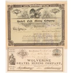 Two Different Placer County, California Mining Stock Certificates  (100846)