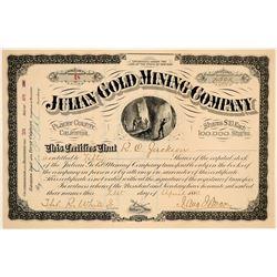 Julian Gold Mining Company Stock Certificate  (102200)