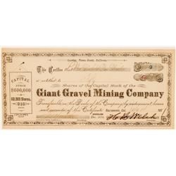 Giant Gravel Mining Company Stock Certificate  (100820)