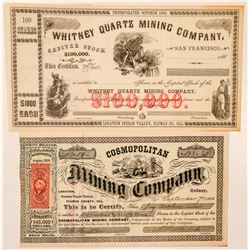 Two Plumas County Mining Stock Certificates  (101485)
