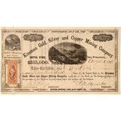 Kinsman Gold, Silver & Copper Mining Co. Stock Certificate  (101504)