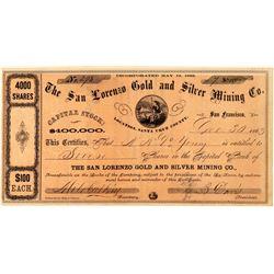 San Lorenzo Gold & Silver Mining Co. Stock Certificate  (101503)