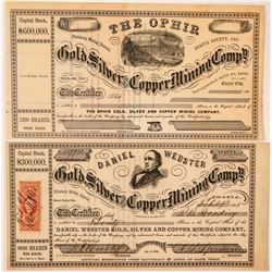 Two Different Shasta County, California Mining Stocks: Ophir and Daniel Webster  (101484)