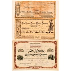 Sierra County Mining Stock Certificate Group   (100837)