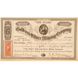 """The Pearl"" Gold & Silver Mining Co. Stock Certificate, Silver Mountain, 1863  (100987)"