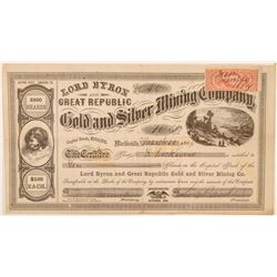 Lord Byron & Great Republic Gold & Silver Mining Co. Stock Certificate  (100985)