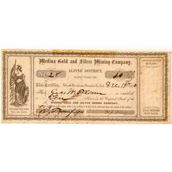 Medina Gold and Silver Mining Company Stock Certificate  (100986)