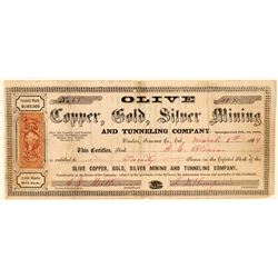 Olive Copper, Gold, Silver Mining & Tunneling Co. Stock Certificate  (101497)