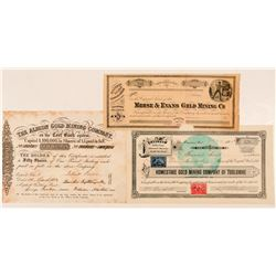 Three Tuolumne County Mining Stock Certificates  (100845)