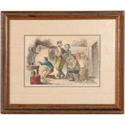 "Mining / Lithograph /"" Hut Of A California Miner. ""  (102138)"