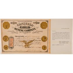 Consuelo Gold Mining Co. of California Stock Certificate--Gold Coin Vignettes  (101514)