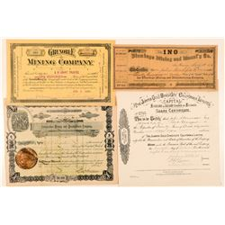 Four Different California Mining Stock Certificates  (100744)