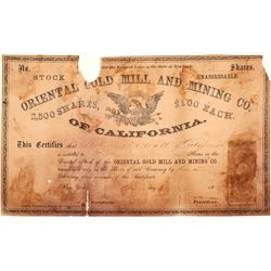 Oriental Gold Mill & Mining Co. of California Stock Certificate   (100983)