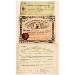 Three California Gold Mining Stock Certificates  (100746)