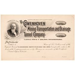 Cowenhoven Mining, Transportation, & Drainage Tunnel Co. Proof Stock  (91631)