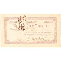 Little Annie Mining Co. Stock Certificate issued to Wheeler  (91587)