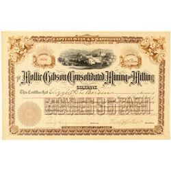 Mollie Gibson Cons. Mining & Milling Co. Stock Certificate  (91580)