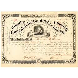 Boulder Consolidated Gold & Silver Mining Co. Stock Certificate  (91554)