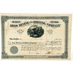 Argo Mining & Milling Company Stock Certificate   (91748)