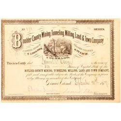 Boulder County Mining, Tunneling, Milling, Land & Town Co. Stock Certificate  (91556)