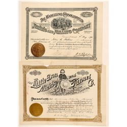 Two Nicely Illustrated Colorado Mining Stock Certificates  (91724)
