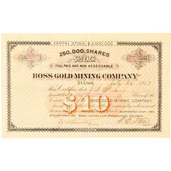 Boss Gold Mining Company Stock Certificate  (91579)