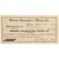 Oshkosh Consolidated Mining Co. Stock Certificate  (91798)