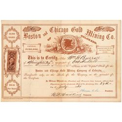Boston and Chicago Gold Mining Co. Stock Certificate  (91759)
