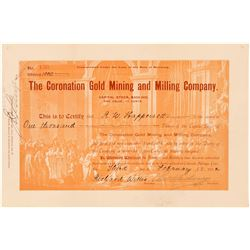 Coronation Gold Mining & Milling Co. Stock Certificate  (91635)