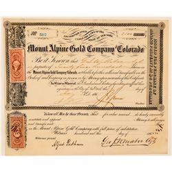Mount Alpine Gold Company of Colorado Stock Certificate  (91872)