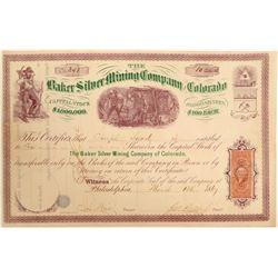 Baker Silver Mining Company of Colorado Stock Certificate  (102505)