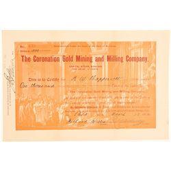 Coronation Gold Mining and Milling Company Stock  (104789)