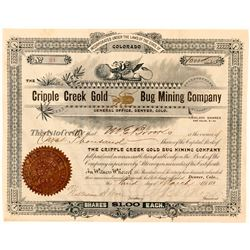 Cripple Creek Gold Bug Mining Company Stock Certificate  (91633)
