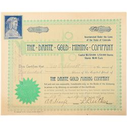 Dante Gold Mining Company Stock Certificate  (91547)