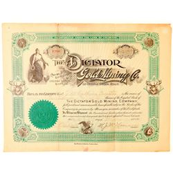 Dictator Gold Mining Company Stock Certificate  (91594)