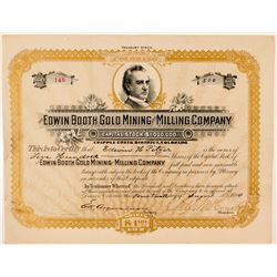 Edwin Booth Gold Mining & Milling Co. Stock Certificate  (91595)