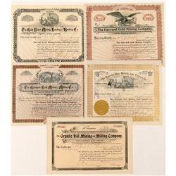 Five Different Cripple Creek Mining Stock Certificates  (91601)