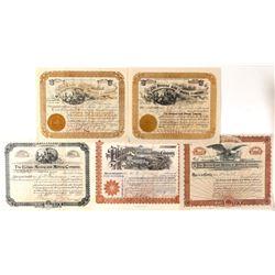 Five Different Cripple Creek Mining Stock Certificates  (91791)