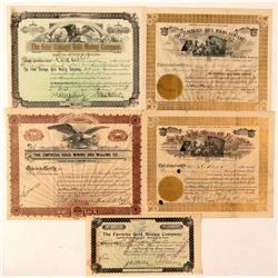 Five Different Cripple Creek Mining Stock Certificates  (91850)