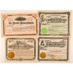 Four Different Cripple Creek Mining Stock Certificates  (91621)