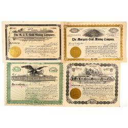 Four Different Cripple Creek Mining Stock Certificates  (91730)
