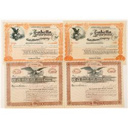 Four Isabella Gold Mining Company Stock Certificates incl. Hagerman Signature   (91604)