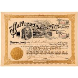 Jefferson Mining Company Stock Certificate  (91726)