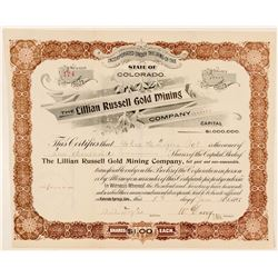 The Lillian Russell Gold Mining Co. Stock Certificate  (100721)