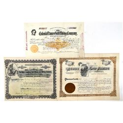 Three Different Cripple Creek Mining Stock Certificates   (91752)