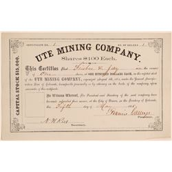 Stock Certificate NUMBER 1, Ute Mining Company  (104720)