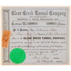 Clear Creek Tunnel Co. of Colorado Stock Certificate  (91615)